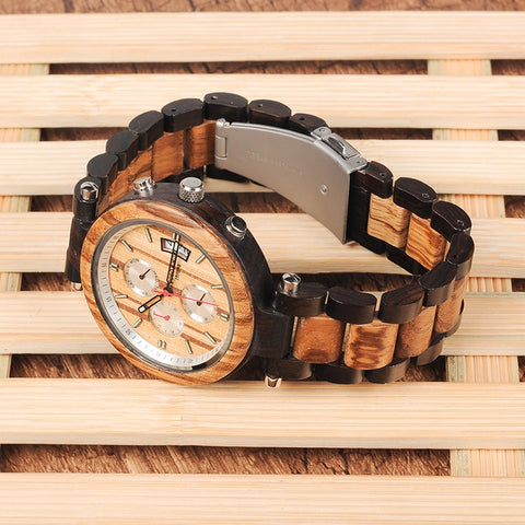 Multi-function Ebony  Wood Watches