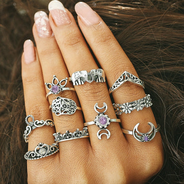 10 pcs/Set Ring Set Antique Silver Color Sun Moon Heart Crystal Crown Midi Finger Knuckle Rings