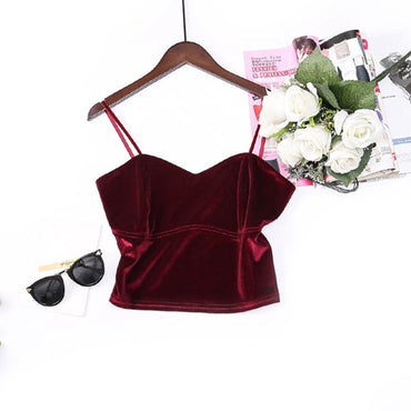 Sexy V Neck Camisole Elegant Wine Red Beige Black Crop Top
