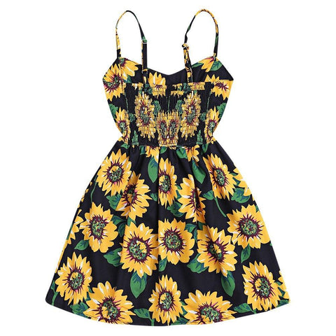 Fashion Cami Smocked Floral Button Mini Dress