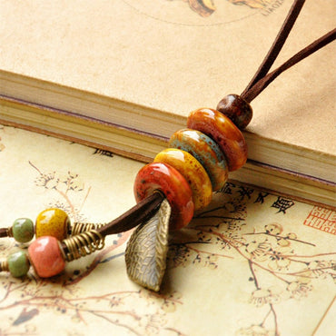 Leather Necklace Ceramic Beads Pendants Leaf Charm Long Sweater Chain