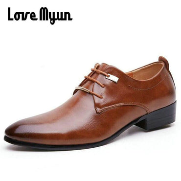 Hot sell mens leather shoes men's dress shoes British Style lace up Pointed toe shoes