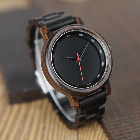 Natural Black Wooden Ebony Quartz Fashion Wristwatch with Red Second Hand Wood Watches