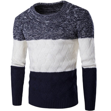 Casual   Men O-neck Patchwork Slim Knitting Mens Sweaters