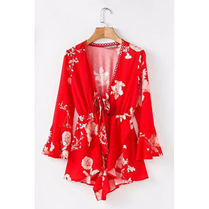 casual long trumpet sleeve playsuits hollow out fashion flower Rompers