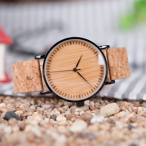Wooden Dial Watches Cork Strap  Wood Watch Timepieces