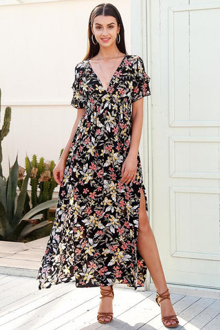 Deep v neck print long dress
