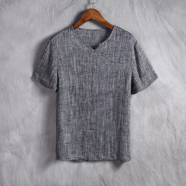 Linen casual short-sleeved t-shirt  pure color V-neck t-shirt