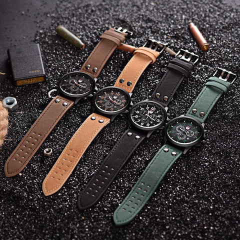 Luxury Brand Sports Water Resistant Watch Leather Casual Quartz Watches