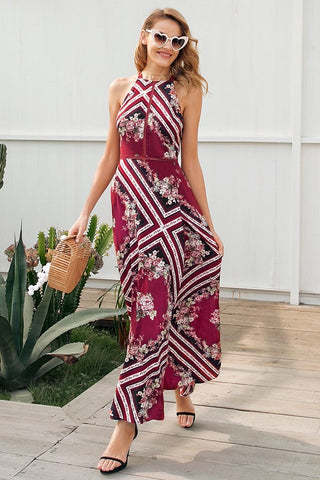 Sexy halter backless print maxi dress