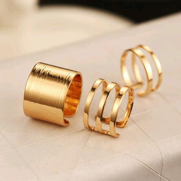 3Pcs  Set. Fashion Top Of Finger Over The Midi Tip Finger Rings