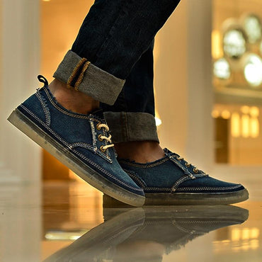 Blue Denim Canvas Shoes Men Spring Autumn  Outdoor Mens Casual Shoes