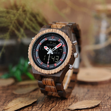 Light Men's Watch Stainless Steel Crown Buckle Dual Display Wooden Watches