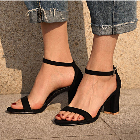 Chunky Heel Women Ankle Strap Gladiator  Cover Heel Flock Party Shoes