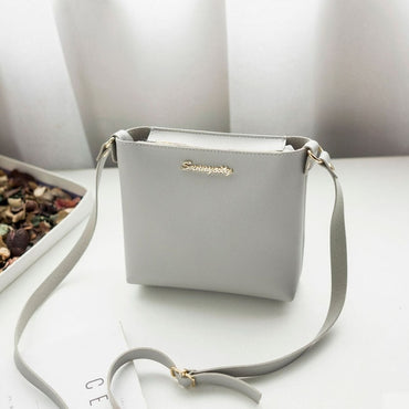 Solid Flap  pu Leather Shoulder Handbag