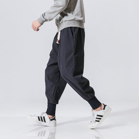 cotton flaxen trousers ankle banded pants