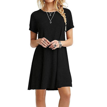 Sexy A-Line Solid Black Dress