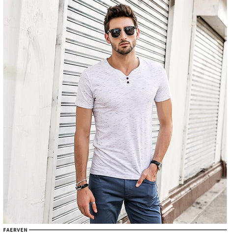 V-neck Casual Solid Color Short Sleeve Slim Fit Cotton tee shirt