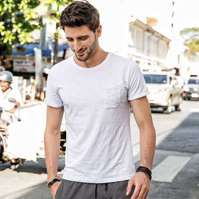 Fashion Pocket Design O-neck Slim Fit Tshirt