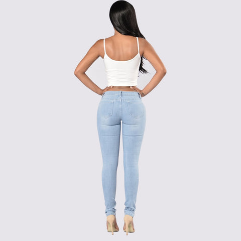 Light Blue Hole Ripped Stretch Mid Waist Skinny Jeans