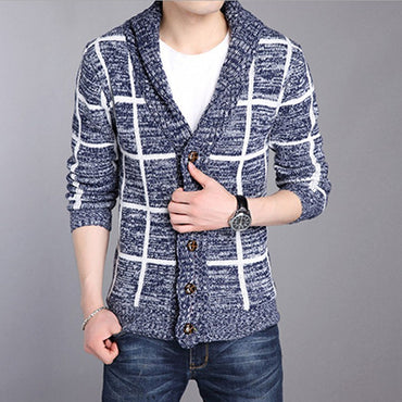 V Neck  Men Cardigans Slim Cashmere Striped Knitted weaters
