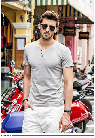 Short Sleeve Slim Fit V-neck Men T shirt Cotton Casual Tee Shirt
