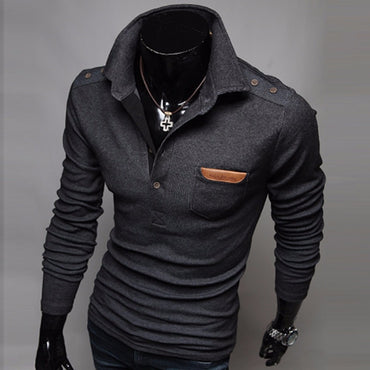Brand Casual Slim High Quality  Hedging Turndown Collar Men'S Sweater