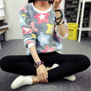 Cute Print Hoodie Winter Long Sleeve