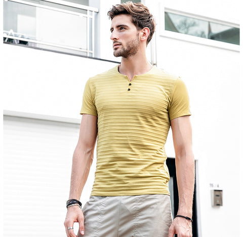 New men's T-shirts summer V-neck Solid Color Striped casual short-sleeved t shirt