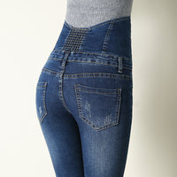 High Waist Elastic Skinny Denim Long Pencil Pants  Jeans