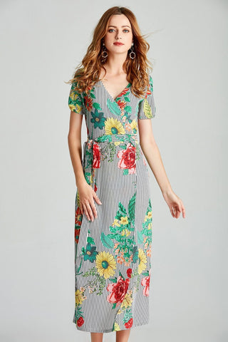 Boho Wrap Summer  Dress Sexy Long Maxi Beach Dress