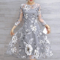 Organza Floral Print Wedding Party Dress
