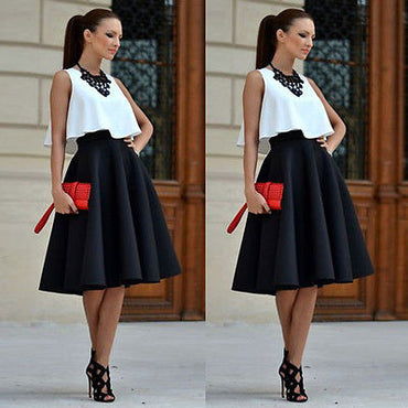 Vintage White crop top and black Mini Skirt