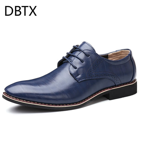 Men Oxfords Leather Shoes British Black Blue Shoes handmade comfortable formal dress men flats Lace-Up Bullock