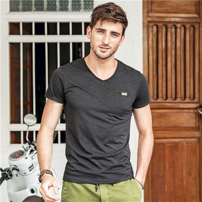 Fashion  T-Shirt Pocket Patchwork V-neck Solid Color Casual T-Shirt