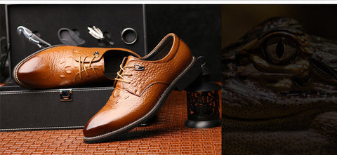 Dress Shoes Genuine Leather Men's Oxford Shoes Alligator Pattern Derby Shoes