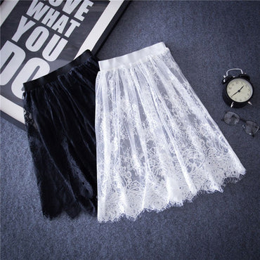 Sexy Lace Floral Lace Solid Casual Mesh tulle skirt