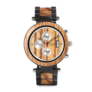 Auto Date Display Wood Watch Luxury Business Wrist Stop Watches