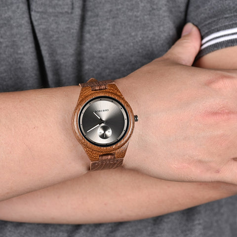 Timepieces Luxury Leather Strap Quartz Wood Watch