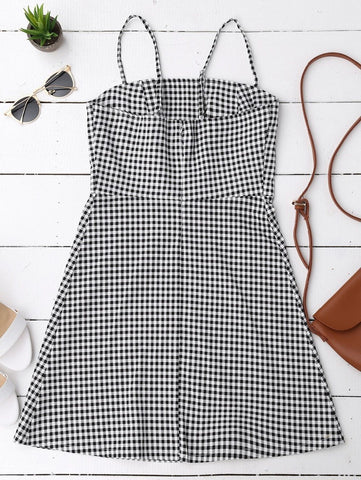Plaid Dress Sleeveless Checked Slip Back Zipper Mini Dress