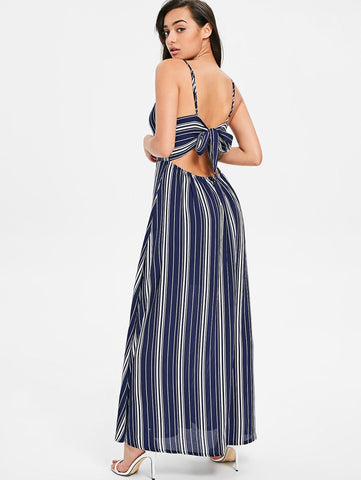 Cami Striped Maxi Dress Spaghetti Strap Sleeveless Ankle-Length Slip Dress