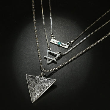 Boho Triangle Arrow Pendant Necklace  Geometric Layered Necklace Vintage Jewelry