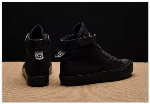 Breathable Black High-top Sneakers Lace-up Canvas Shoes