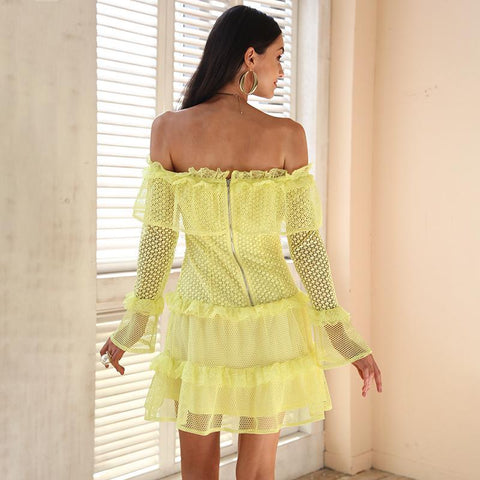 Simplee Off shoulder ruffle lace dress