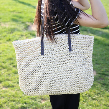 Rattan Woven Handmade Knitted Straw Large Capacity Totes Leather handbags