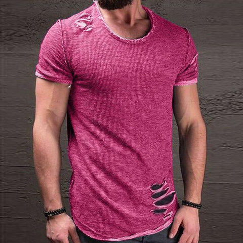 Fashion Summer Ripped Clothes Men Tee Hole Solid T-Shirt