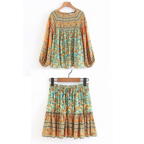 Boho Hippie Gypsy Print Skirt or Blouse or set