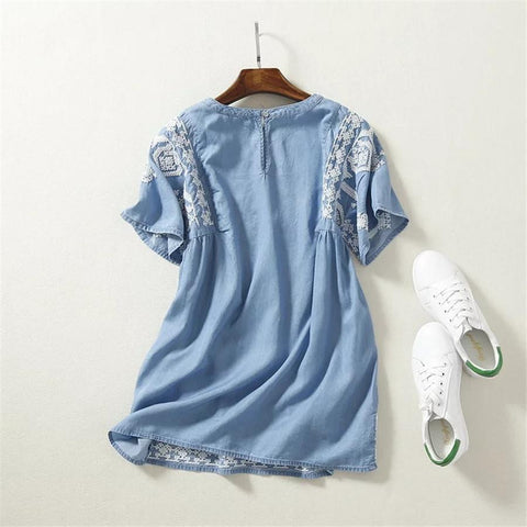 Floral Embroidery Blouse Denim Loose Shirt