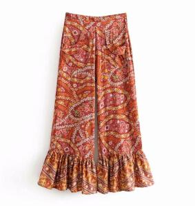 Vintage rayon floral print ankle-length summer flare pants or top