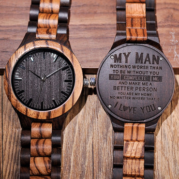 Wood Engrave Personal Watch